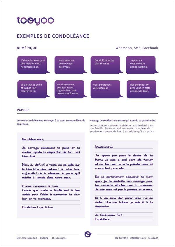 Textes De Condoleances Modeles Assistants Tooyoo