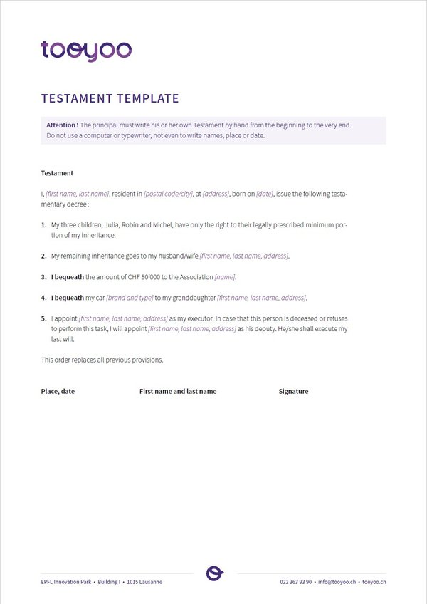 Lastwill And Testament Tooyoo - Legally binding document